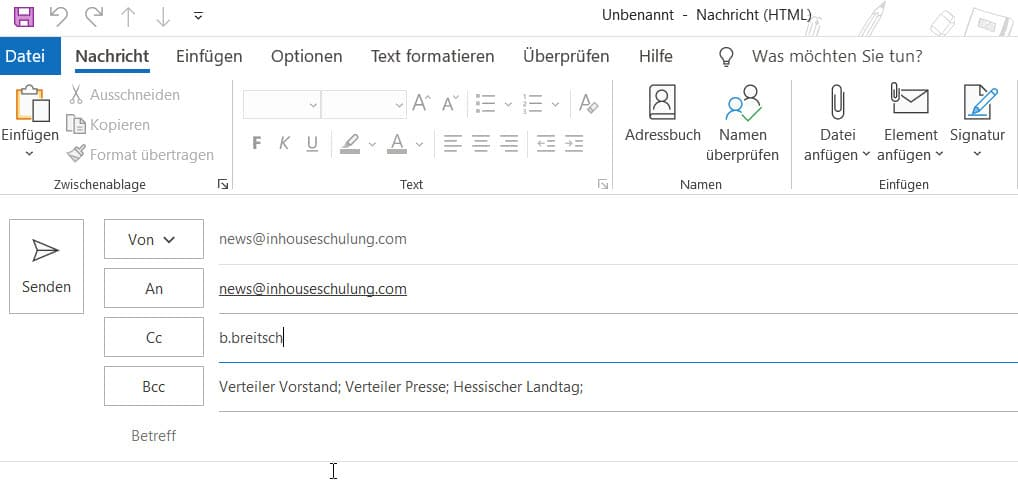 outlook massenversendung